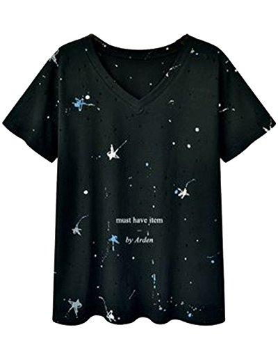 Noir Imprim Courtes V Femme Grande Shirt Tee Tops Manche Taille Col Causal Hauts 7wOCqB