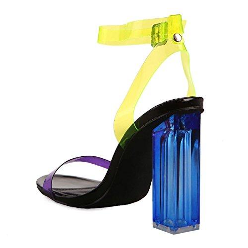 Plastique La Sandales Transparent en Brides Souple Jaune Modeuse et à Multicolores Fluo gg5qS8rwv