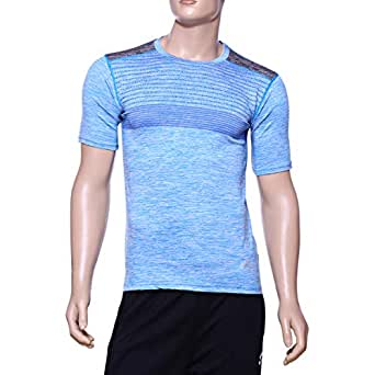 Matris Blue Polyester Round Neck T-Shirt For Men