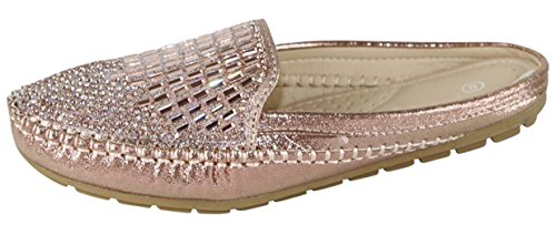 Cambridge Select Women's Closed Toe Glitter Crystal Rhinestone Slip-on Mule,9 B(M) US,Champagne
