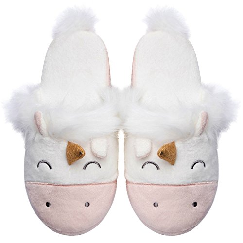 Unicorn Animal Fleece Slippers | Indoor Outdoor Home Slippers | Cozy Plush Memory Foam by Caramella Bubble