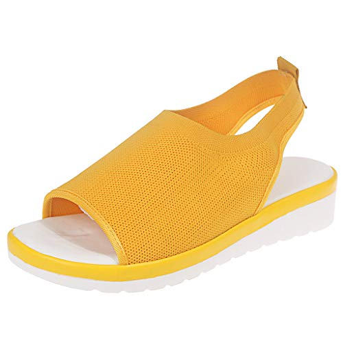 Women's Athletic Walking Shoes Casual Mesh Comfortable Work Sneakers ,Londony Casual Espadrilles Trim Open Toe Sandal Yellow