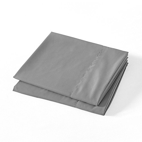 BASIC CHOICE Microfiber Pillow Cases, Set of 2 (Charcoal, Standard/Queen)