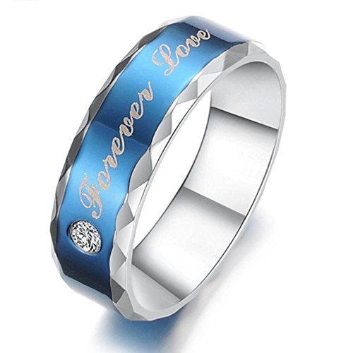 AnaZoz Stainless Steel Forever Love Couples Promise CZ Wedding Bands Blue Silvery Men's Women's Rings Size 11 Fashion Jewelry