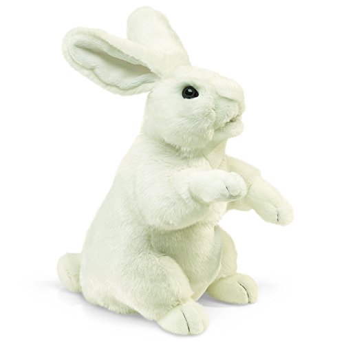 Folkmanis Standing White Rabbit Hand (Rabbit Plush Hand Puppet)