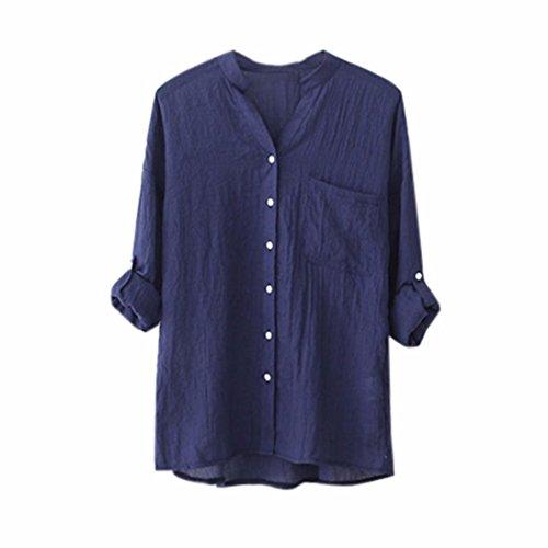 CieKen Women Botton Down Blouse, Fashion Boyfriend Style Solid/Print Tops Officce/Casual Loose T Shirt (Blue, 4XL)