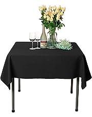 Namvo Svart bomull polyester fyrkantig bordsduk skydd för mat och julfest 135 x 140 cm (singel)