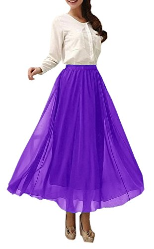 Afibi Womens Chiffon Retro Long Maxi Skirt Vintage Dress (XXX-Large, Purple)