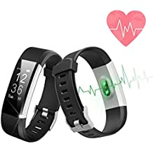 Fitness Smart Bracelet Activity Tracker, Waterproof Smart Bracelet Heart Rate Monitor Watch with Calorie Counter Compatible with iOS and Android … (White) (White)