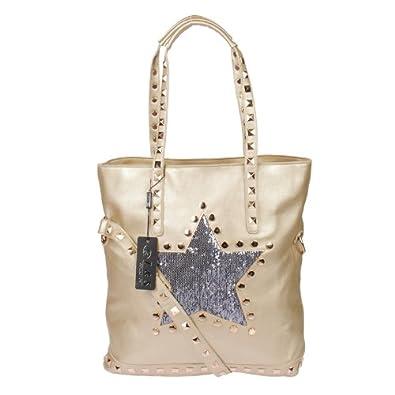 e9dae971b5117 LS XL Nieten Umhängetasche in gold mit Pailletten Stern Shopper Bag  Handtasche Tasche von