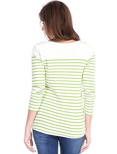 Para Redondo Largo Camiseta Bateau Verde K T Cuello Rayas Top shirt Mujer A Allegra PgavqWFw5F