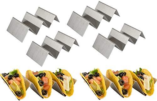 Olivia and Aiden Stainless Steel Taco Holder Stand (6-Pack) Stainless Steel Taco Rack for Hard and Soft-Shell Use | Oven, Grill and Dishwasher Safe | Upright, Easy-to-Pack | Reusable