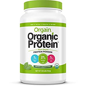 Orgain Organic Plant Based Protein Powder, Natural Unsweetened, Vegan, Non GMO, Gluten Free, 1.59 Pound, 1 Count, Packaging May Vary