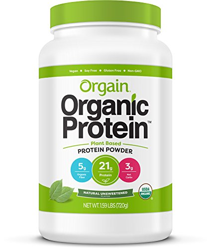 - Orgain Organic Plant Based Protein Powder, Natural Unsweetened - Vegan, Low Net Carbs, Non Dairy, Gluten Free, Lactose Free, No Sugar Added, Soy Free, Kosher, Non-GMO, 1.59 Pound