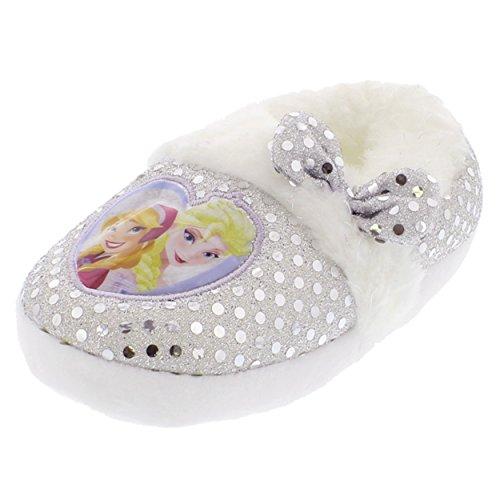 Frozen Elsa Anna Kids Aline Slippers (7/8 M US Toddler, White Silver Sequins)