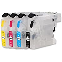 F-INK@ 4PCS LC203 Empty Refillable Ink Cartridge Use For MFC-J460DW MFC-J480DW MFC-J485DW MFC-J680DW MFC-J880DW MFC-J885DW Printers LC201