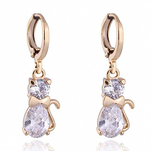 IPINK Cute Cat 18k Gold Plated Zircon Dangle Earrings Women Jewelry (Cat Woman Costume Ideas)