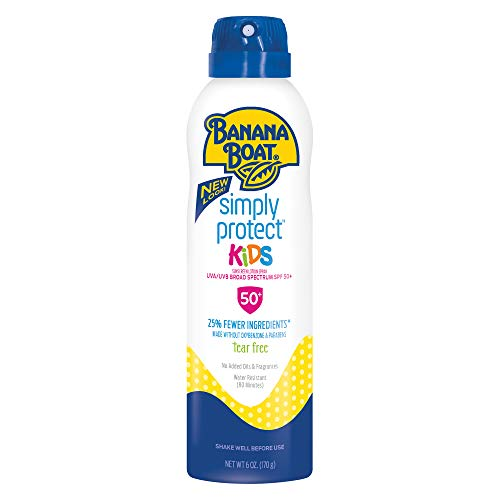 (Banana Boat Simply Protect Sunscreen Lotion Spray for Kids, SPF 50+, Tear Free, 25% Fewer Ingredients, 6 Ounces)