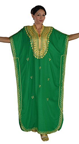Moroccan Caftan Hand Made Top Quality Breathable Cotton with Gold Hand Embroidery Long Lenght Green