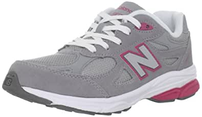 New Balance KJ990 Lace-Up Running Shoe (Little Kid/Big Kid), 1 W US Little Kid, Grey/Pink Trim with White Laces