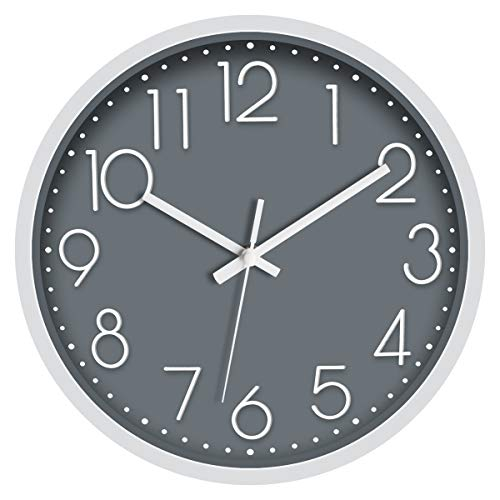 Foxtop Non-Ticking Wall Clock 12 inch Silent Quartz Round Battery Operated Wall Clock Modern Simple Style for Living…