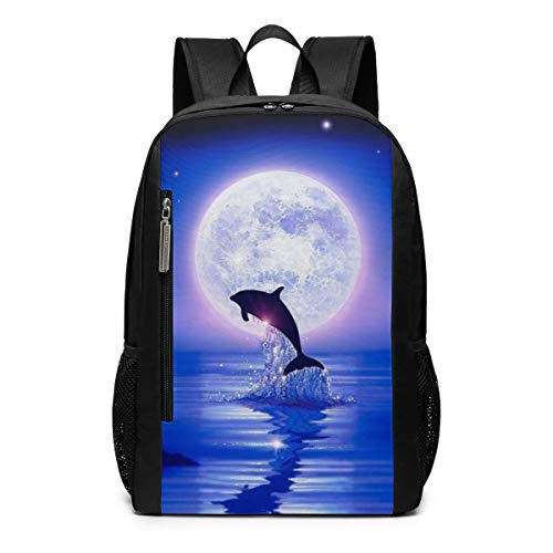 Moonlight Dolphins Outdoor Travel Laptop Backpack Travel Accessories, Fashionable Backpack Suitable for 17 Inches (Moonlight Dolphin)