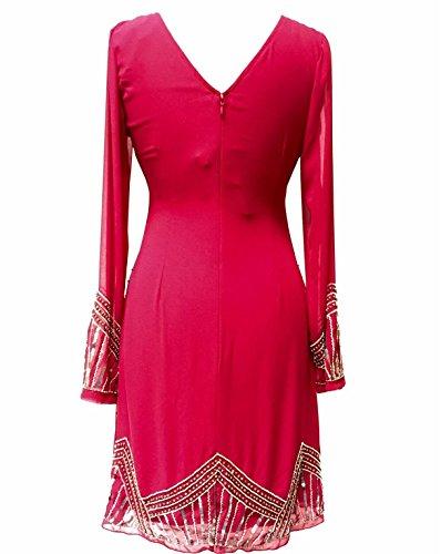 Ladies 1920de estilo vintage Charleston Flapper Gatsby Abbey Fringe con cuentas Lentejuelas Vestido De Cambio Rosso