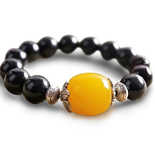 (Casoty 14mm Natural Black Onyx Agate Bracelet with Synthetic Beeswax Ornaments for Men and Women)