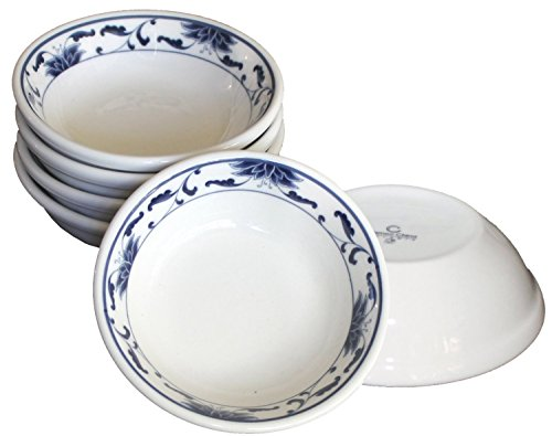 Ceramic Side Sauce Dish and Pan Scraper, 3 Inch, 2 Ounce, Blue Lotus, (Blue Divided Dish)