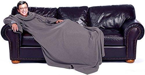 lazyBuddy Snuggle Fleece Blanket Cozy Wrap Warm Throw Travel Plush Fabric with Sleeves As Seen On TV- Gray