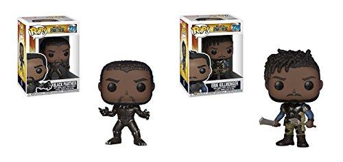 Funko POP! Marvel Comic Black Panther Bobble Head: Black Panther and Erik Killmonger Toy Action Figures - 2 POP (Pop Bundle)