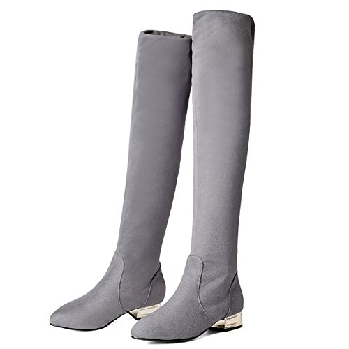 Boots Pull Autumn Winter Casual On KemeKiss Long Grey Knee High Women 0PAwqR