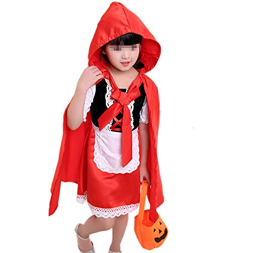 JIKF-shirt Christmas Cosplay Fancy Dress Halloween Costume for Kids Riding Hood Cape Child Cloth Red -