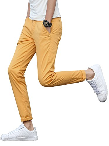 Plaid&Plain Men's Stretchy Yellow Pants Yellow 34 Yellow Plaid Pants