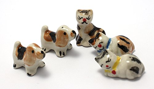 Mini Dog Cat Figurine Dollhouse Miniatures Animals Ceramic Collectible Figurine set 5 pcs. Unpainted Ceramic Figures