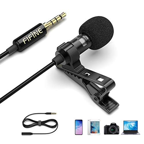Fifine Lavalier Lapel Microphone, 3.5mm Clip On Mic for YouTube Video Recording Vlog, Mini External Mic for iPhone iPad Android Cell Phone DSLR Camera PC Laptop Mac Computer, Noise Reduction-C1