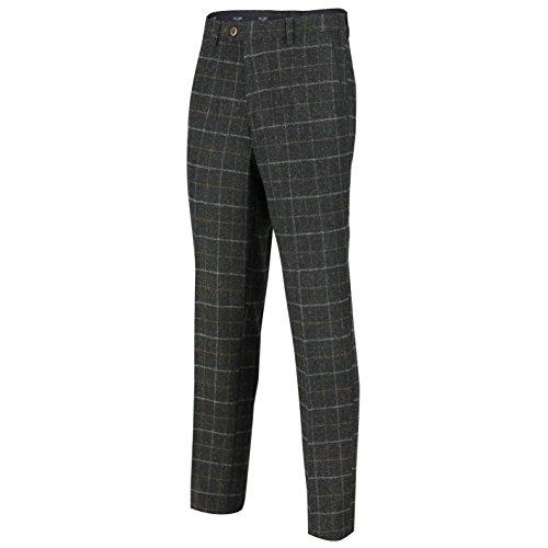charcoal Grey De Combinaison Trouser Homme Pièces 3 Tweed Pour Carreaux Avec À Motif En 7fAaOqfnw