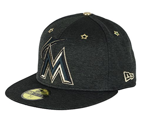 New Era Men's Florida Marlins ASG 59Fifty Fitted Cap 7 1/2 Black Gold