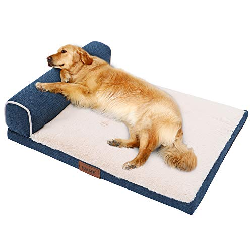 EMME Orthopedic Dog Bed for Small, Medium and Large Dogs T-Shape Bolster Pet Beds Ultra Plush with Removable Cover…