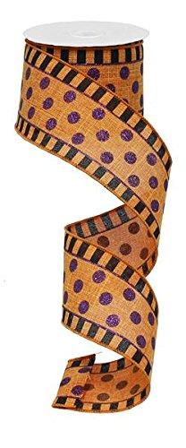 Orange Glitter Stripes and Dots Halloween Ribbon: Orange and Black 2.5