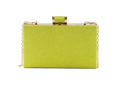 Hearty Trendy Metallic Light Gold Frame Minaudiere Clutch Evening Bag - Gold