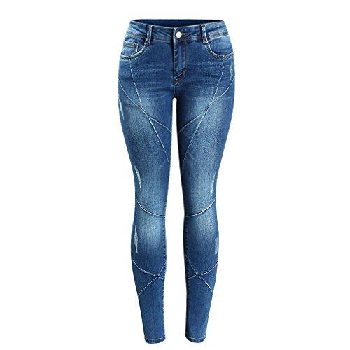 Mujeres Patchwork Plus tamaño cintura baja media Stretch Skinny Pants Jeans para mujeres Denim Jean Azul