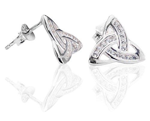 DTPsilver - Boucles d'oreilles Femme en Argent Fin 925 avec Petit Oxyde de Zirconium - CZ - Celtique - Fermoir clou