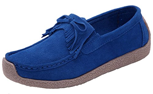 Shoes Boat Deck Flat Women's DADAWEN Loafers Penny Moccasins Blue Suede 8wqTU