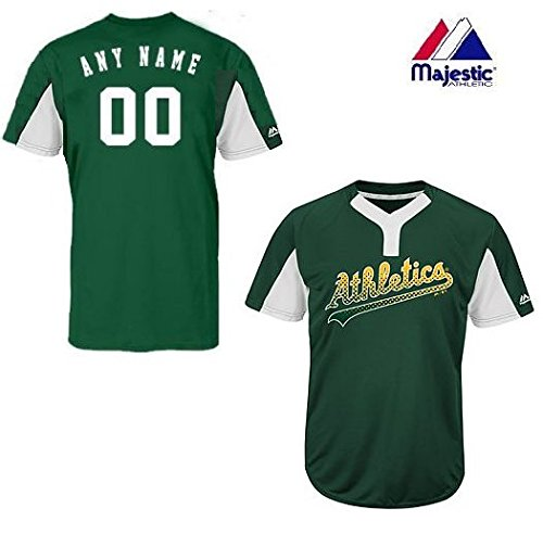 2-Button Cool-Base Oakland Athletics 2-Color Green/White Blank or CUSTOM Back (Name/#) MLB Officially Licensed Baseball Placket Jersey – DiZiSports Store