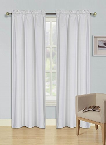 GorgeousHomeLinen (R64) 1 Set Solid Insulated Lined Foam Backing Heavy Thick Thermal Rod Pocket Blackout Window Treatment Curtain Drape Panels, Smooth Microfiber Texture (White, 84