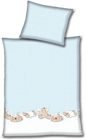 Silbermond Baby Baumwoll Bettwäsche Karo mit Teddy/'s blau-weiß 100x135 NEU