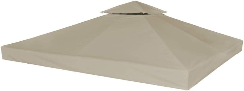 tidyard Toldo de 2 Niveles Toldo de Repuesto Carpa de Jardín Cenador para Patio Tienda para Camping Fiesta Celebraciones Evento al Aire Libre 310g/m² 3x3m Gris Topo(Estructura de Cenador No Incluida): Amazon.es: