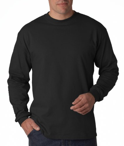 Hanes Long Sleeve Tee - Hanes Long Sleeve Beefy T-Shirt - 5186 Black