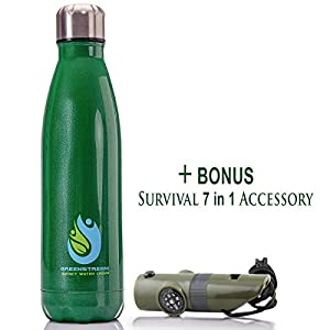 Stainless Steel Double Wall Insulated Water Bottle | Bundled with Multifunctional Hiking Accessory